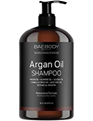 Baebody Moroccan Argan Oil Shampoo 16 Oz - Volumizing & Moisturizing, Gentle on Curly & Color Treated Hair, for Men & Women. Infused with Keratin.