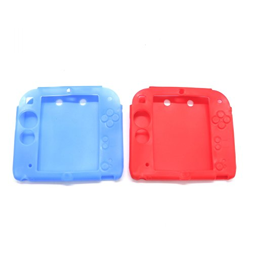 Pack Of 2 ​Replacement For Nintendo 2DS Protective Soft Silicone Rubber Gel Skin Case Cover Skin​ ​,Red & Blue - Slicone Skin