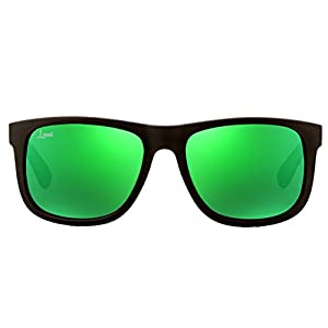The Starter - Green Mirrored Sunglasses - Men and Women - Fashionable Designer Look with Colored Sunglass Lenses - Rubber Frames - Unisex Travel Eyeglasses with UV400 Protection - Variety of Colors