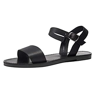 Herstyle Keetton Women's Open Toes One Band Ankle Strap Flat Sandals Black 11.0