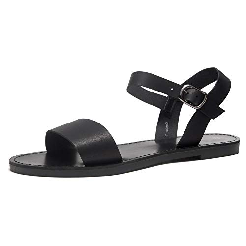 Herstyle Keetton Women's Open Toes One Band Ankle Strap Flat Sandals