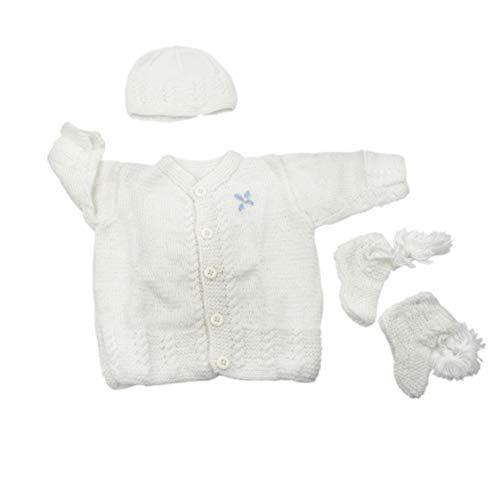 Magic Needles Handmade Knit Baby Infant Newborn Winter Woolen Full Sleeves Sleeveless Sweater Pullover Cardigan (White 478, 0-6 Mths) - Handmade Baby Sweater