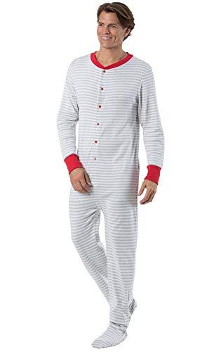 PajamaGram Mens Onesie Pajamas Cotton - Mens Footed Pajamas, Dropseat, Gray, -