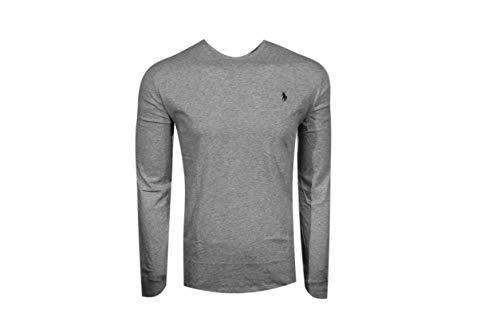 Polo Ralph Lauren Crew Neck Long Sleeve T-Shirt (Medium, Grey Heather (Dark Green Pony))