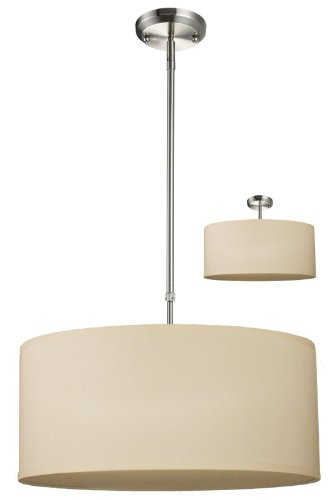 Z-Lite 171-20C-C Albion Three Light Pendant, Metal Frame, Brushed Nickel Finish and Off White Linen Fabric Shade of Fabric Material