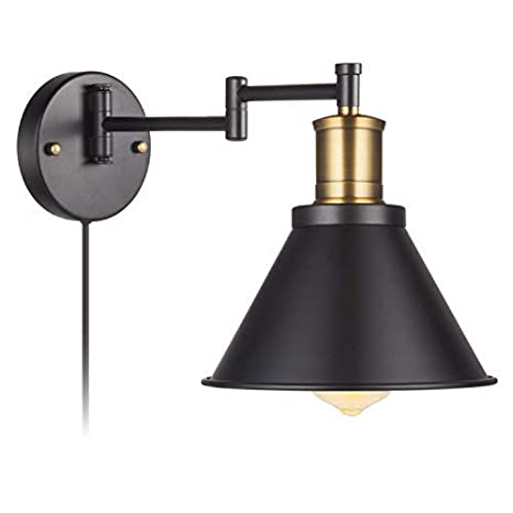 Swing Arm Wall Lamp Plug-In Cord Industrial Wall Sconce, Bronze And ...