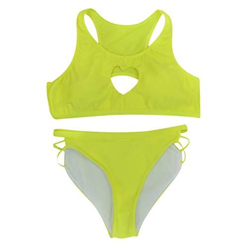 - Newkelly Women's Tube Top Solid Color Split Swimsuit Swimwear Swimwear Bikini Green