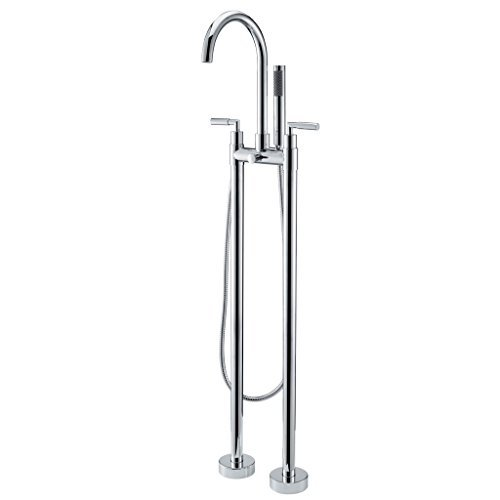 Faucet Mounted Clawfoot Bathtub (JiaYouJia Polished Chrome Clawfoot Floor Mounted Tub Filler Faucet with Metal Handles and Built-in Diverter)
