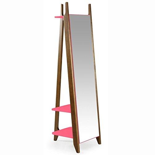 Espelho de Chão 2 Prateleiras Stoka Maxima Nogal/Rosa