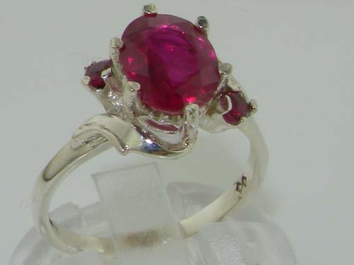 925 Sterling Silver Natural Ruby Womens Trilogy Ring – Sizes 4 to 12 Available