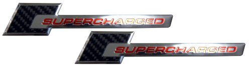 2 x REAL Carbon Fiber Supercharged Supercharger Aluminum Emblems in Red for Chevy Corvette Dodge Hot Rod Street Chevy Impala Ss Harley Davidson Camaro Range Rover Carbon Fib Ford Mustang GT: