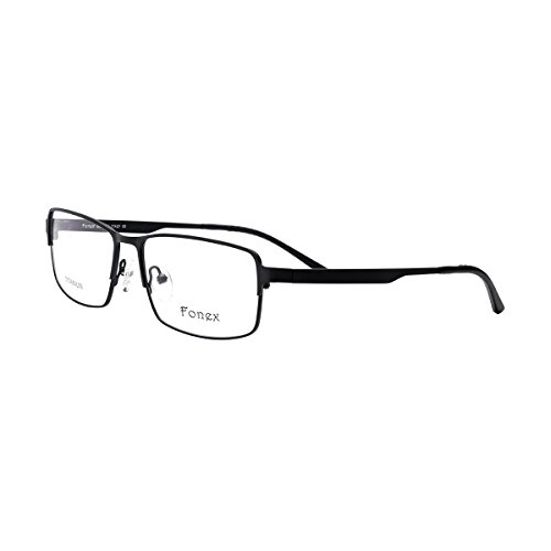 FONEX Men Titanium Alloy Square Prescription Glasses Frame Eyewear 10013 (black, - Titanium Glasses