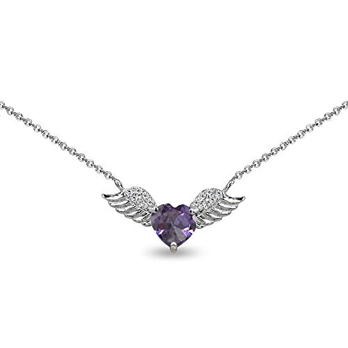 Sterling Silver Simulated Alexandrite & CZ Heart Angel Wings Necklace for Teen Girls, 15