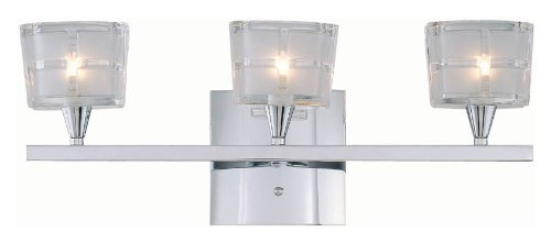 Lite Source LS-16983C/CLR Iskyla 3-Lite Vanity Lamp, Chrome with Sand Blasted Glass Shade