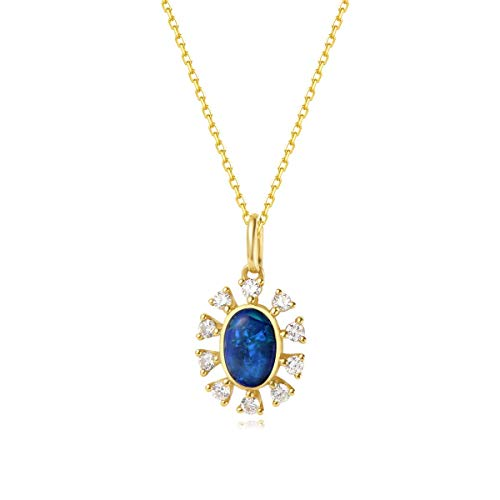 AGVANA 18K Solid Yellow Gold Au750 0.152Ct Diamond & Real Genuine Natural Fire Opal Halo Pendant Necklace Elegant Fine Jewelry Gift for Women Girls 16