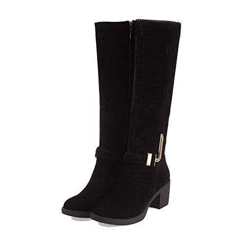Top Heels Women's Boots High Kitten Suede Zipper Solid Black Imitated WeiPoot dt8qt