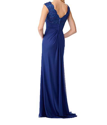 Blau Ausschnitt Chiffon Festlichkleider Etuikleider Abendkleider V 2018 Partykleider Dunkel Charmant Ballkleider Lang Damen q7xtTT