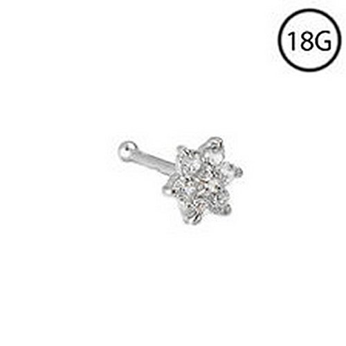 YD Jewelry - 14KT White Gold Nose Bone Stud Ring Large 4.5mm Flower Cluster 18 Gauge 18G ()