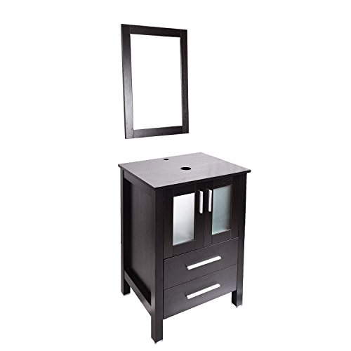24 Inches Bathroom Vanity, Modern Stand Pedestal Cabinet, with Mirror, Wood Black Fixture (Vessel sink not (Frosted Glass Vessel Pedestal Vanity)