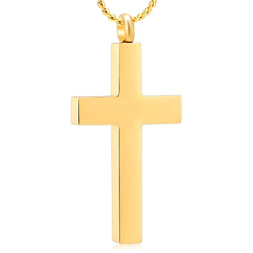 Imrsanl Crystal Cross Necklace for Ashes - Stainless Steel Keepsake Cremation Jewelry - Religious Cross Memorial Urn Necklace for Pet Human Ashes Pendant (Gold-1)