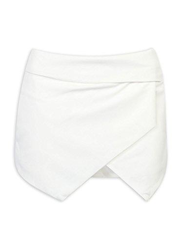 CR Women Asymetric Hem Tulip Plain Mid Waist Skorts (X-Small, White),White,X-Small