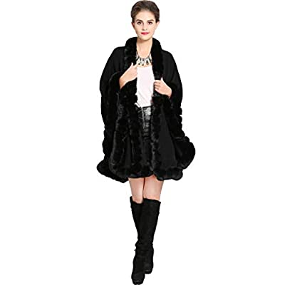 Aphratti Knit Wrap Scarf Shawl Cape with Luxury Rex Rabbit Faux Fur Collar Without Arm Slits One Size Full Black at Women's Coats Shop