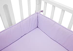 TL Care Cotton Percale Portable Crib Bumper, Mini, Lavender, for Girls
