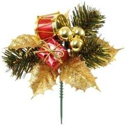 Factory Direct Craft Package of 12 - Artificial Pine Accented Gold Glitter Christmas Holiday Floral Picks