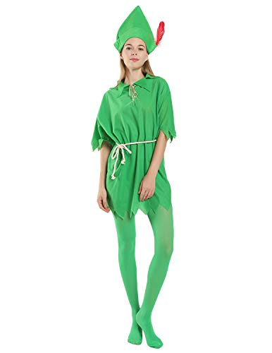 Quesera Unisex Peter Pan Costume Cosplay Peter Pan Tunic Adult Halloween Costume, Green, XS-L ()