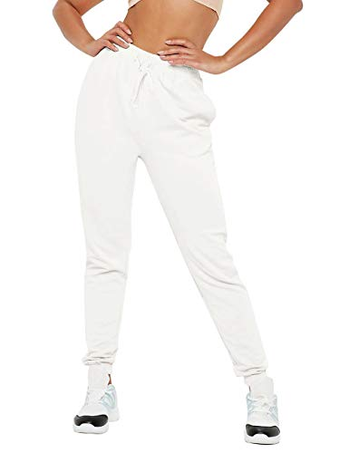 Hat and Beyond Womens French Terry Lightweight Jogger Cotton Active Capri Pant (Large, 3UA0001 White)