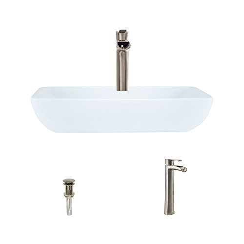 Porcelain White Nickel - V350-White Porcelain Vessel Sink Brushed Nickel Ensemble with 731 Vessel Faucet (Bundle - 3 Items: Sink, Faucet, and Pop Up Drain)