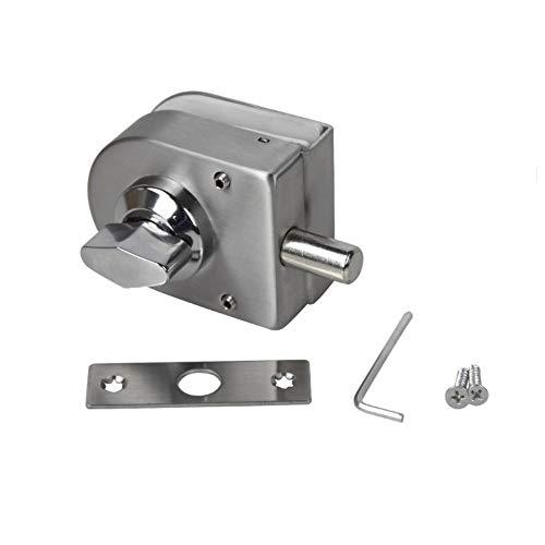 LWZH Steel 10mm -12mm Single Open Glass Door Lock Latch Single Swing Hinged Slide Gate Lock Bolt Keyless for Single Door