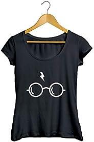 Camiseta Baby Look óculos Cicatriz Feminino Preto