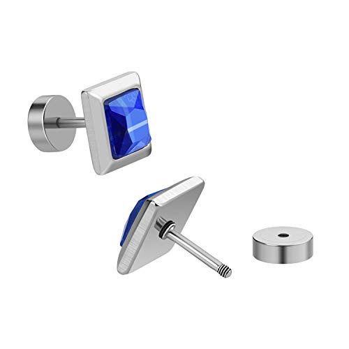 Stainless Steel with Square Glass Screw Back Post Stud Earrings for Women Girls (blue)
