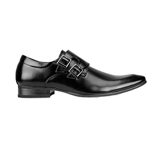 Mm / One Hombres Monkstrap Oxford Zapatos Plantilla De Espuma De Memoria Con Punta Doble En El Dedo Del Pie Kingsize Mpt112-5 Negro
