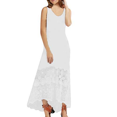 Alangbudu Women Solid Sleeveess Crewneck Tank T-Shirt Flare Plain Slim Fit Maxi Puffy Swing High Low Lace Hem Party Dress White ()