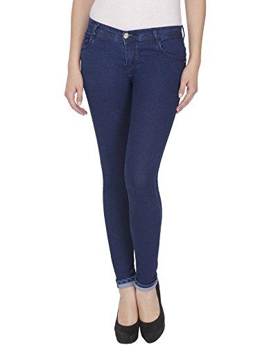 NJS, Navy Blue Low Waist Women Silky Denim Jeans