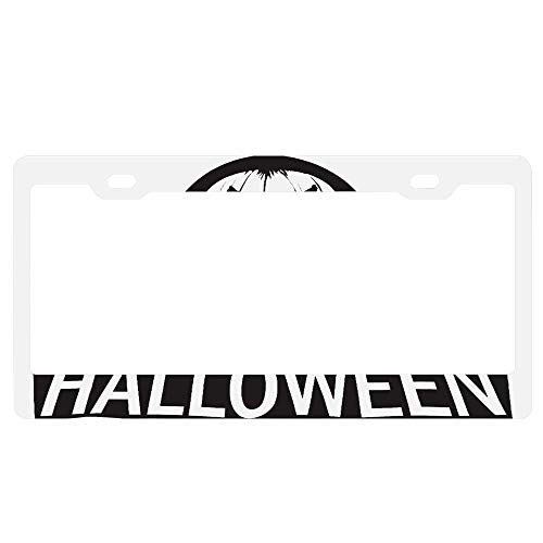 SDGlicenseplateframeIUY Horror Halloween Pumpkin Monster License Plate Personalized Women Men Auto Tag Sign is Made of Aluminum. ()