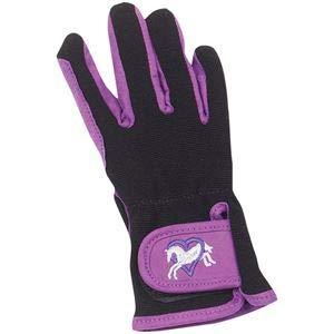 (Ovation Child Heart & Horse Gloves,Purple/Black,size A 8-10)