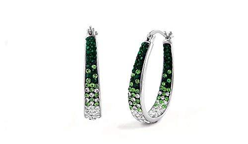 Womens Crystal Inside Out Oval Shape Hoop Earrings, Fashion Hoop Earrings For Women (Graduated Green) ()