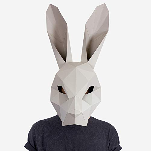 Hare Mask | Rabbit Mask | Animal Mask | DIY Paper Mask | Halloween Mask | Adults & Children | Geometric 3D Design | Low Poly Mask Grey