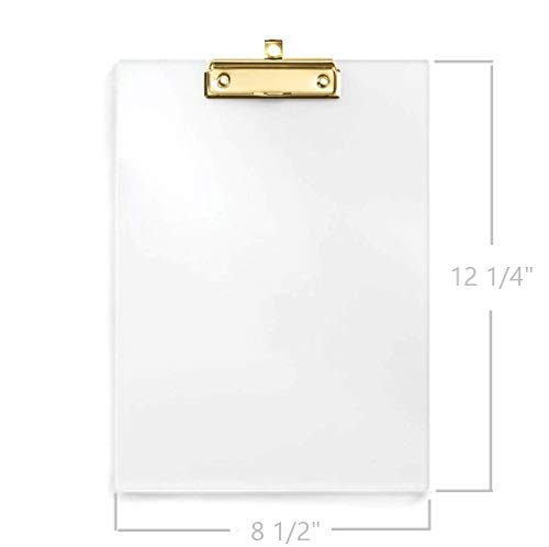 UNIQOOO Thick Clear Acrylic Clipboard with Shinny Gold Finish Clip, Perfect for Modern Arts Lover, Fashion and Style Expert, Calligrapher, Office, Seminars, Workshops, Home school, Classroom and Event Photo #2