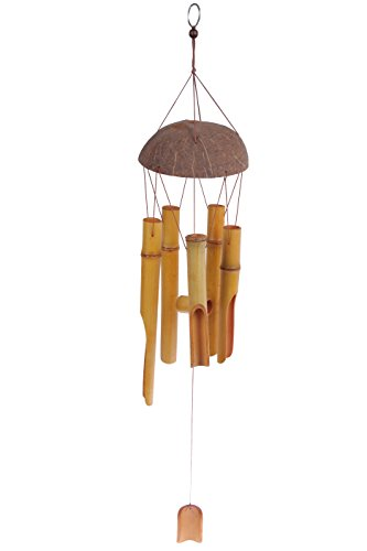 Wind Chime - Bamboo Wood Wind Bell - 28 Inch Chime Light Brown Indoor Outdoor Wooden Melody Bamboo Wind Bell for Garden Patio Home Green House Gazebo Front Door - Bamboo Chime Wind Chimes