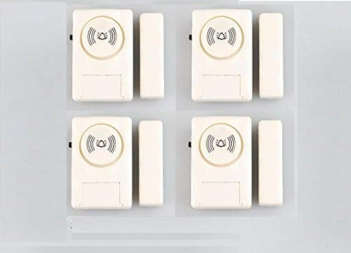 Jenix Wireless Door Window Open Alert Alarm Home Security System Siren (Cream) – Set of 4