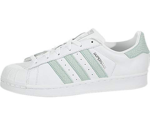 adidas Originals Women's Superstar Shoes Running, White/ash Green/Silver Metallic, 5.5 M US