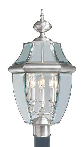 - Livex Lighting 2354-91 Monterey 3 Light Outdoor Brushed Nickel Finish Solid Brass Post Head with Clear Beveled Glass