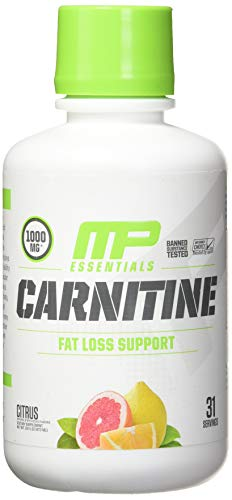 Carnitine Liquid - MP Essentials Carnitine Core Liquid Diet Supplement,  MusclePharm Weight Loss, Helps Reduce Body Fat, Supports Athletic Performance and Endurance, Citrus, 31 Servings