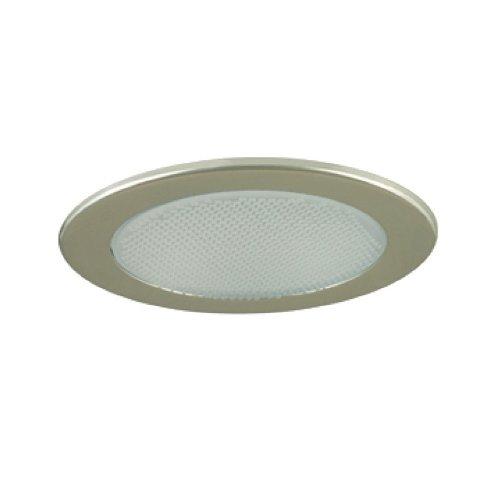 Jesco Lighting TM412ST 4-Inch Aperture Low Voltage Trim Recessed Light, Albalite Glass For Shower, Satin Chrome Finish -