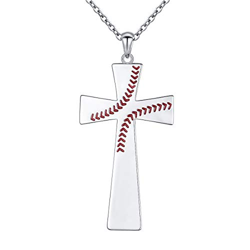 (S925 Sterling Silver Faith Hope Inspirational Baptism Communion Bible Verse Baseball Pendant Necklace for Men Boy I CAN DO All Things)