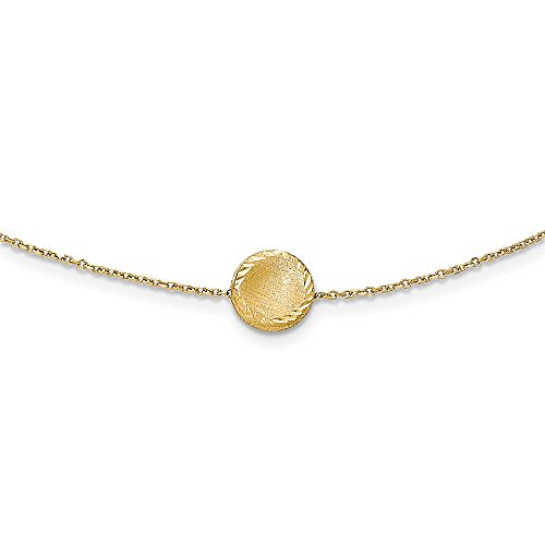 14k Yellow Gold Brushed Circle Chain Necklace Pendant Charm Link Fine Jewelry Gifts For Women For Her 14k Gold Cupid Charm